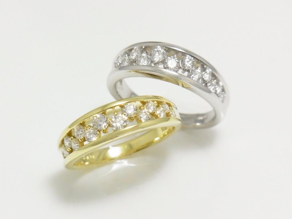デュアンス☆プラチナとゴールドのダイヤモンドリング入荷♪