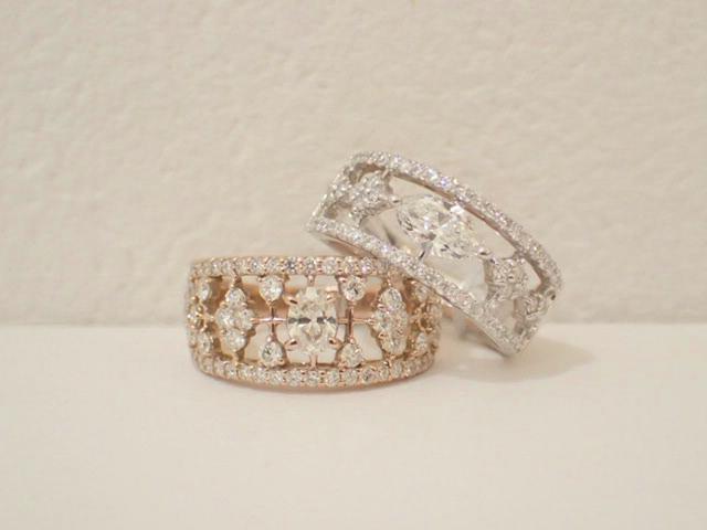 プラチナとピンクゴールドのダイヤモンドリングが入荷しました♪
