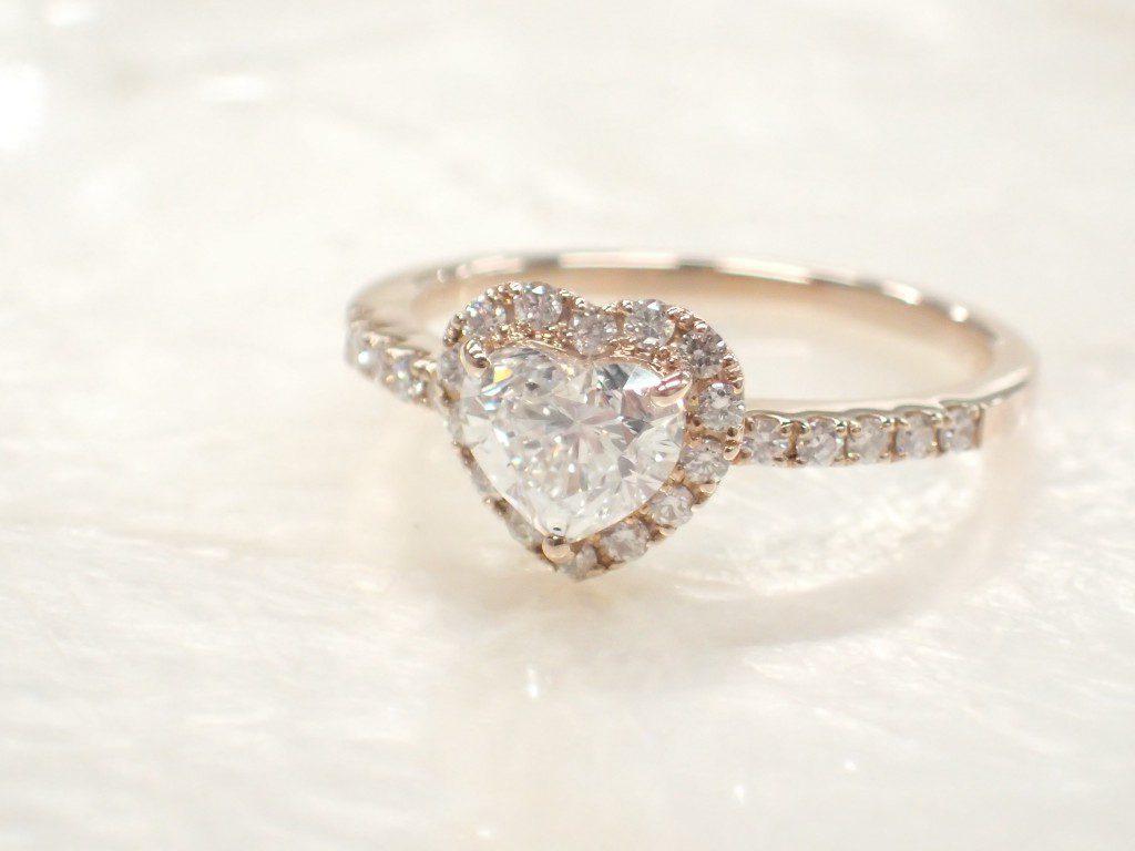 ピンクゴールド×ハートシェイプのダイヤモンドリングが入荷しました♪