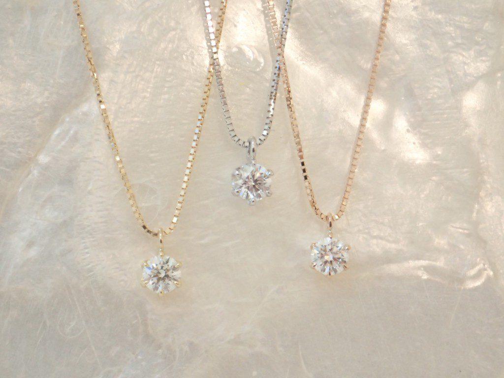 ダイヤモンドの輝きが際立つ一粒ダイヤピアス&ネックレスが入荷しました♪