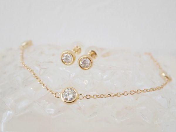 ベーシックデザインは一生物☆ダイヤモンドステーションネックレス ファッションジュエリー