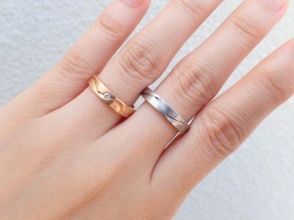 フラージャコーの結婚指輪/オリガミからインスピレーションを受けた和なリング 結婚指輪 - マリッジリング ブライダル 婚約指輪 - エンゲージリング 婚約指輪&結婚指輪 - セットリング