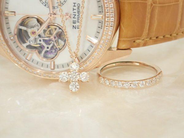 2018秋色コーデ☆ピンクゴールドのゼニスウォッチ&デュアンスのダイヤモンドジュエリー ファッションジュエリー