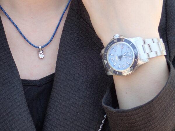 フォーエバーマークのコードネックレスとブライトリングスーパーオーシャンのオーシャンコーデ☆ ファッションジュエリー フォーエバーマーク
