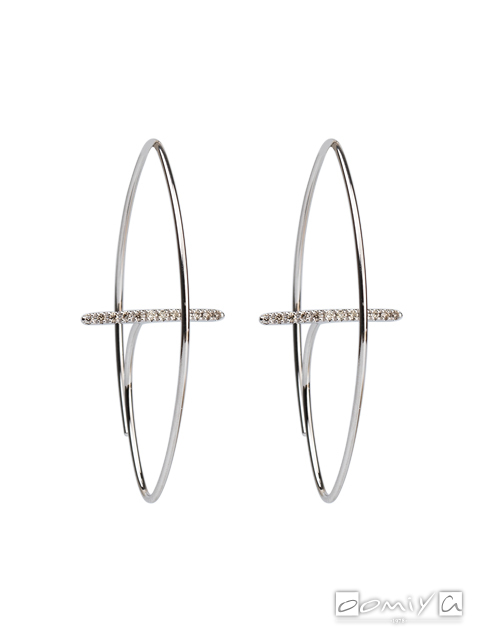 ヒロタカ|Gossamer Floating Diamond Bar Oval Earring M - GS46HDEM